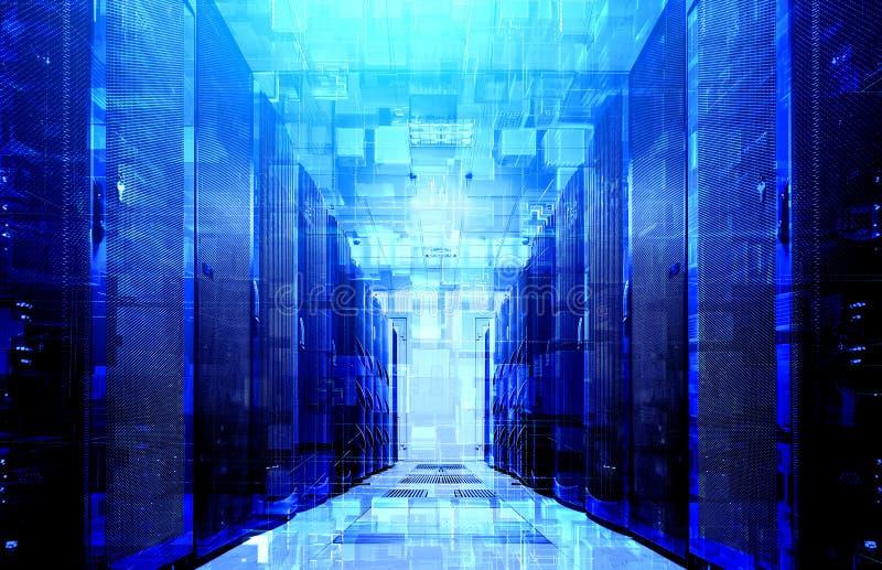 3D被挤压的立方体网际空间例证真正结构在现代数据中心背景的与蓝色背后照明的 免版税库存图片