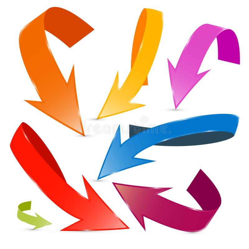 3D被设置的传染媒介五颜六色的箭头 库存例证