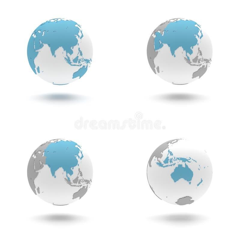 3D被设置的地球-亚洲和大洋洲 皇族释放例证