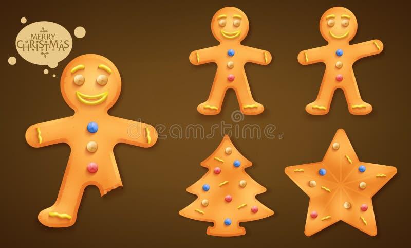 3D被设置的微笑的布朗姜饼人、圣诞树和星曲奇饼 库存例证