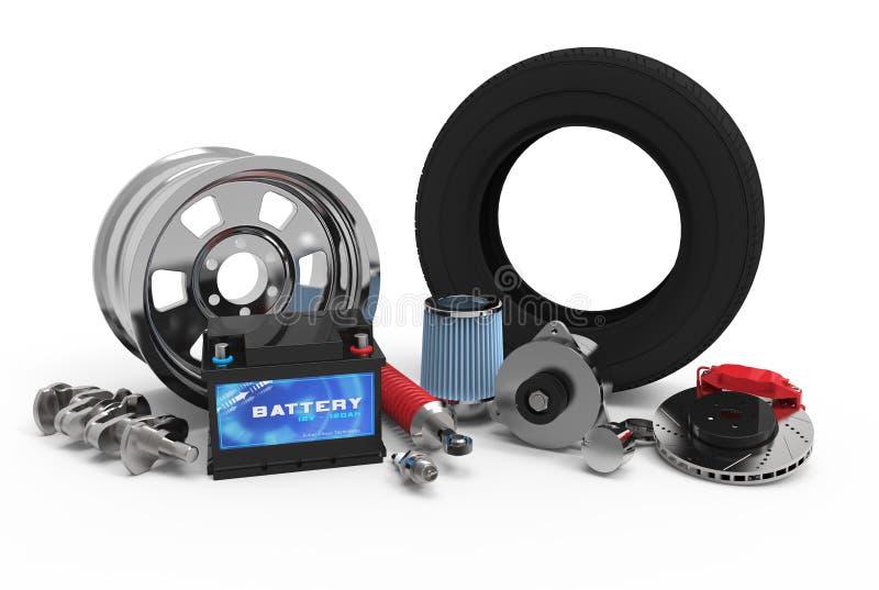 3d被设置的汽车零件 向量例证