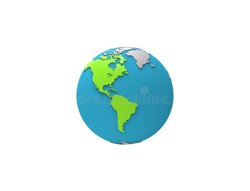 3d被隔绝和漂浮在白色背景的行星地球翻译 库存例证