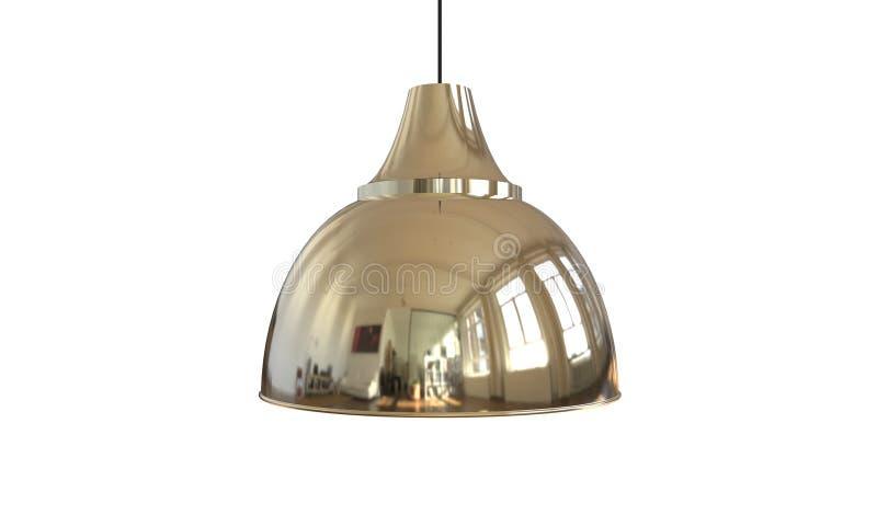 3d被隔绝的一盏现代银色色的吊灯的例证 库存例证