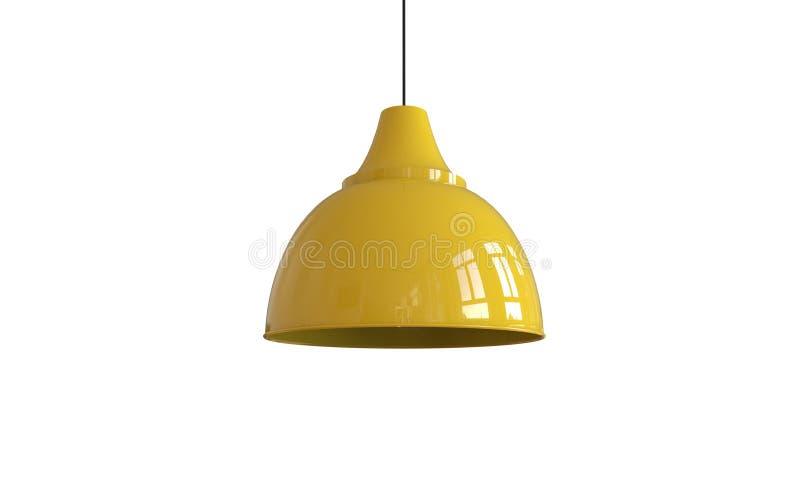 3d被隔绝的一盏现代黄色吊灯的例证 皇族释放例证