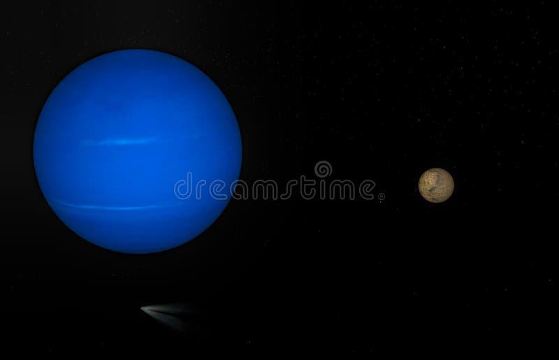 3d被隔绝的海王星行星翻译 皇族释放例证