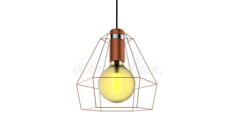 3D被隔绝的笼子导线爱迪生灯的例证 库存例证