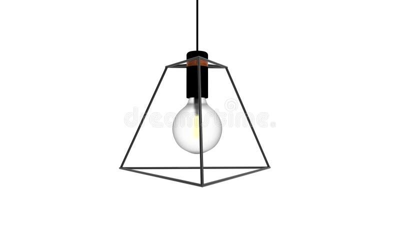 3D被隔绝的笼子导线爱迪生灯的例证 皇族释放例证
