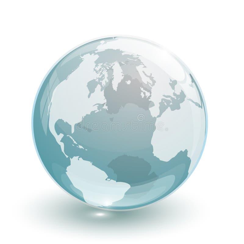 3d被隔绝的蓝色透明玻璃地球地球 向量例证