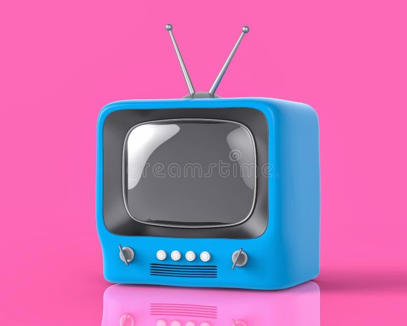 3d被隔绝的蓝色小电视电视 向量例证