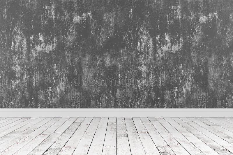 3d被绘的翻译有木地板的洁净室和粗砺 免版税库存照片