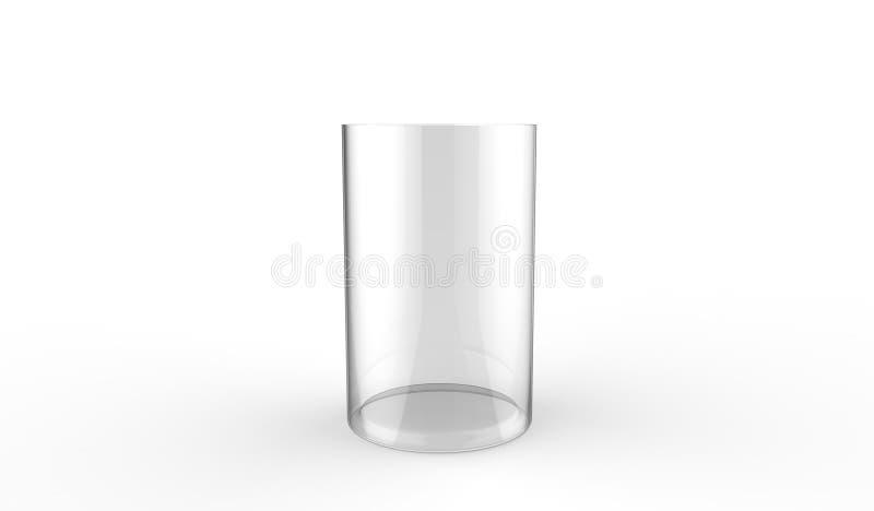 3d装饰在白色背景的圆筒玻璃花瓶的例证 库存例证