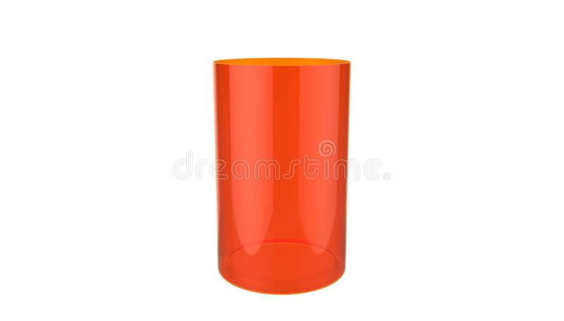 3d装饰在白色背景隔绝的圆筒红色玻璃花瓶的例证 向量例证