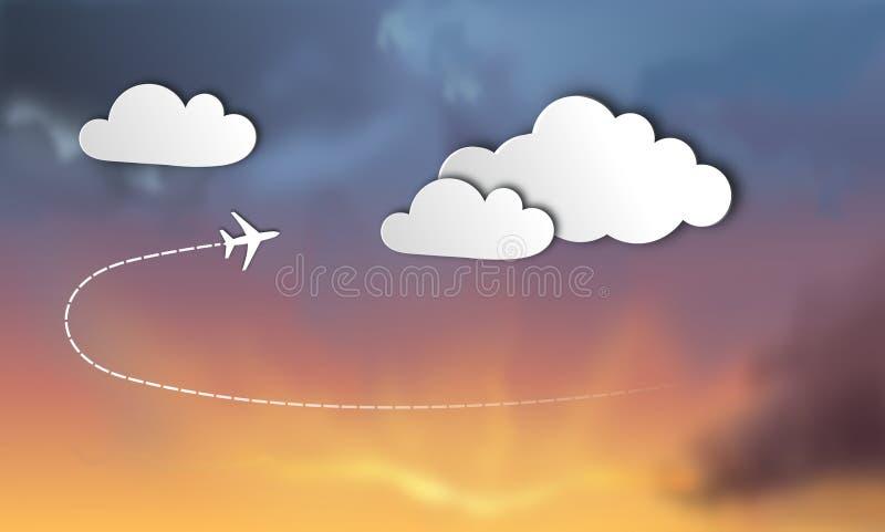 3D裱糊与飞机和云彩的例证在日落在风雨如磐的背景 向量例证