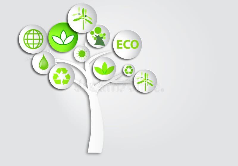 3d裱糊圈子按钮在树的生态标志 向量例证