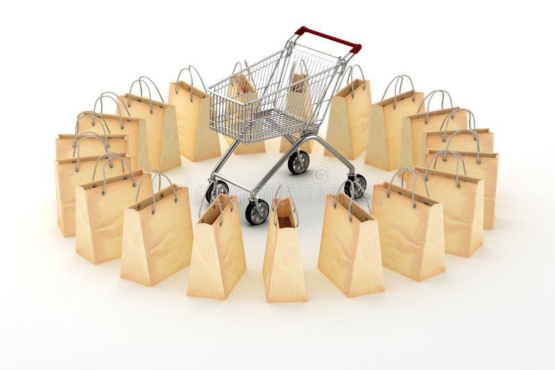 3d裱糊购物袋和购物车 库存例证
