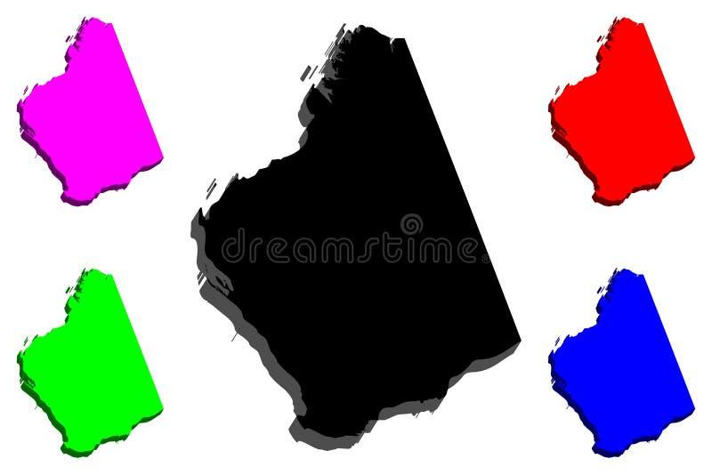 3D西澳州地图  皇族释放例证
