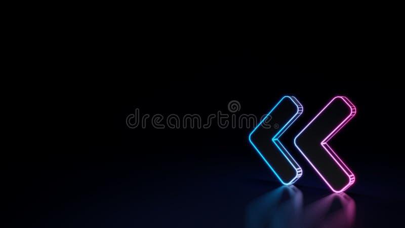 3d角度双的标志的发光的霓虹标志在黑背景离开被隔绝 向量例证