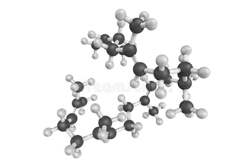 3d角鲨烯、碳氢化合物和三萜烯结构  向量例证