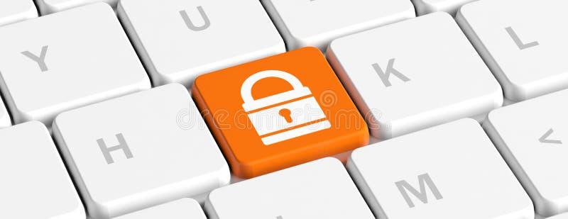 3d计算机例证监控程序证券 在键盘的挂锁象,横幅 3d例证 皇族释放例证