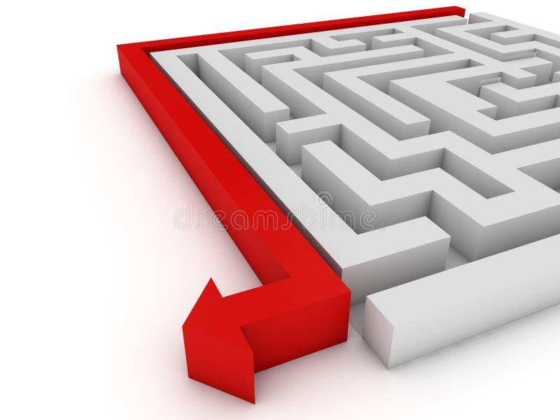 与迷宫的聪明的战略概念 库存例证
