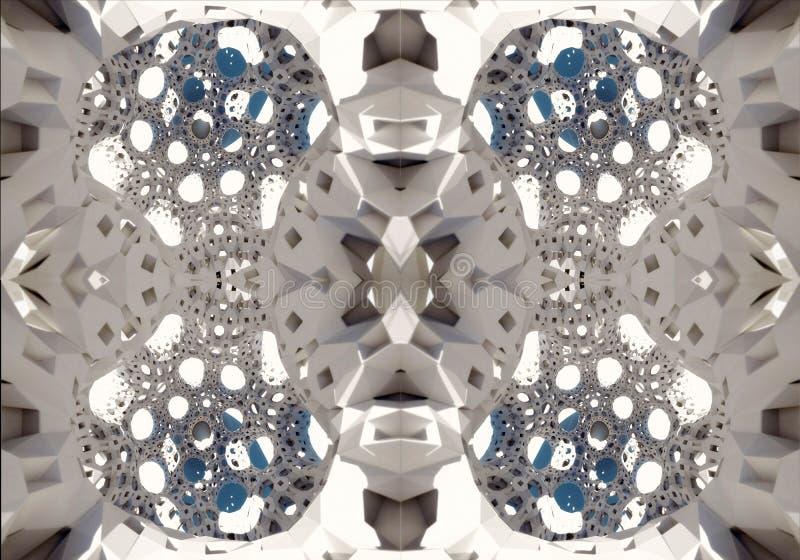 3d计算机生成的摘要独特的发光的分数维形状艺术品背景 库存例证