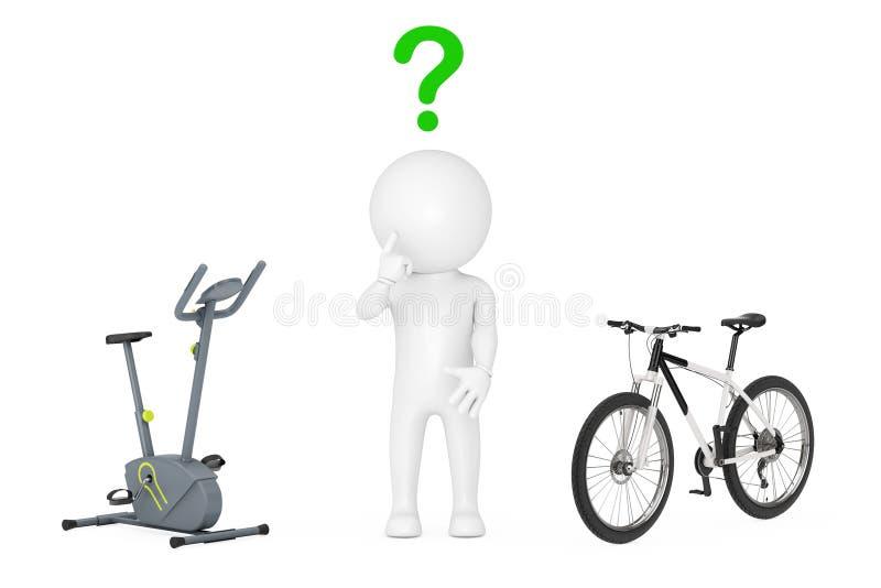 3d认为在固定式锻炼脚踏车健身房机器之间的人 向量例证