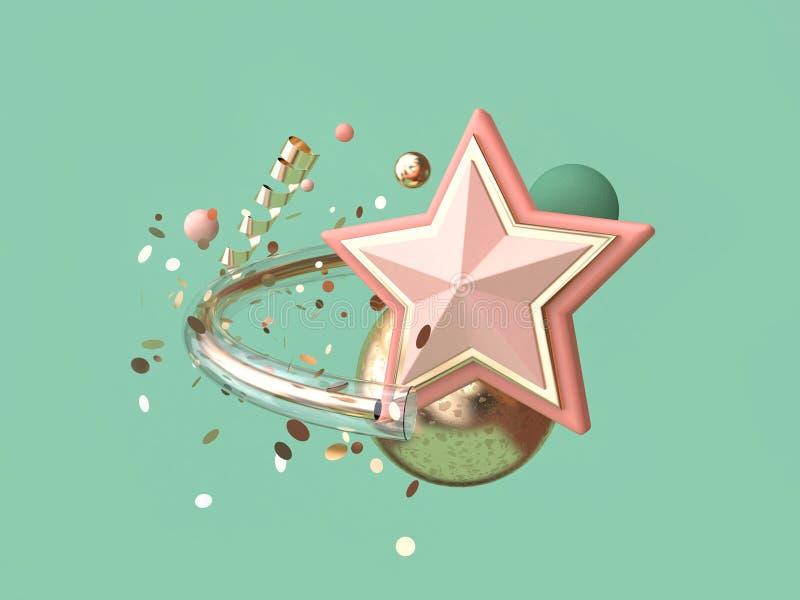3d许多翻译绿色背景抽象桃红色的星对象装饰浮动圣诞节概念 向量例证