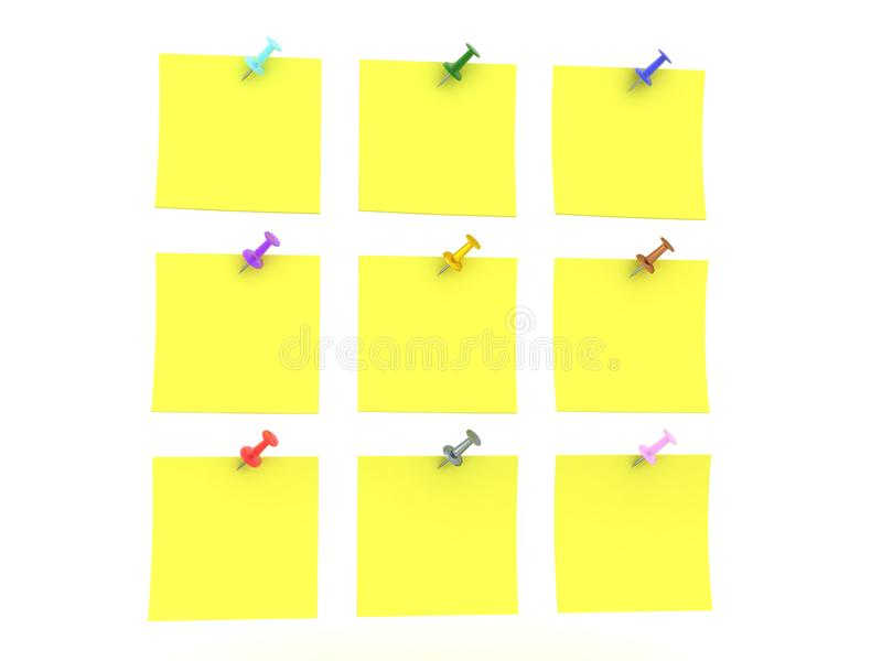 3D许多黄色稠粘的笔记翻译与各种各样的有色的别针的 库存例证