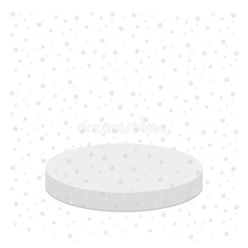 3d设计的现实平台 星形状五彩纸屑 圆的阶段指挥台 向量例证