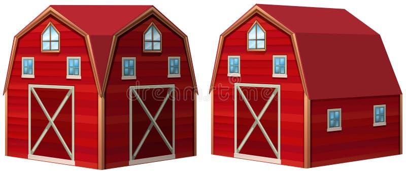 3D设计的红色谷仓 库存例证