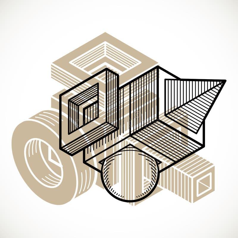 3D设计,抽象传染媒介尺寸立方体形状 向量例证