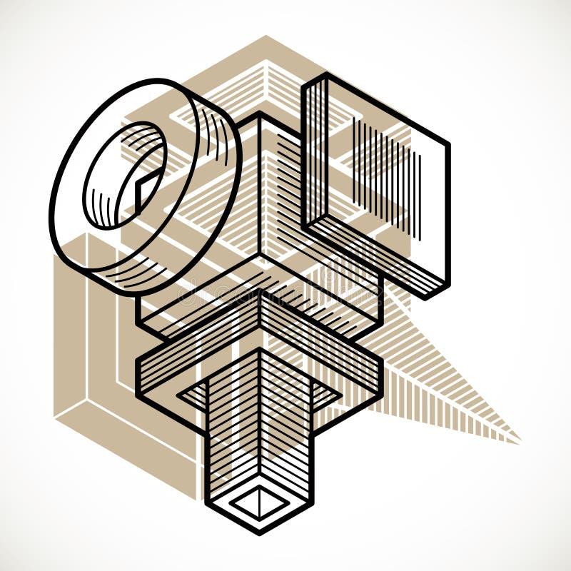 3D设计,抽象传染媒介尺寸立方体形状 库存例证