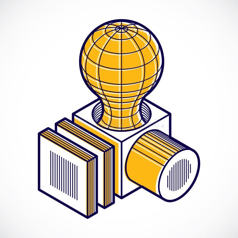 3D设计,抽象传染媒介尺寸立方体形状 皇族释放例证