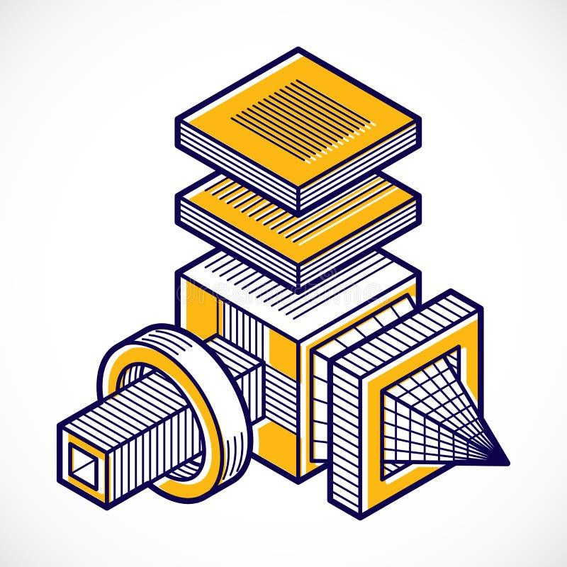 3D设计,摘要传染媒介尺寸立方体 皇族释放例证