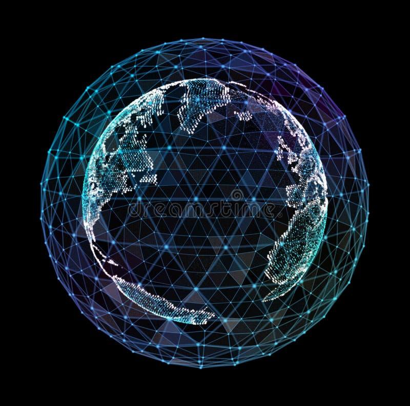 3d详细的真正行星地球的例证 技术数字式地球世界