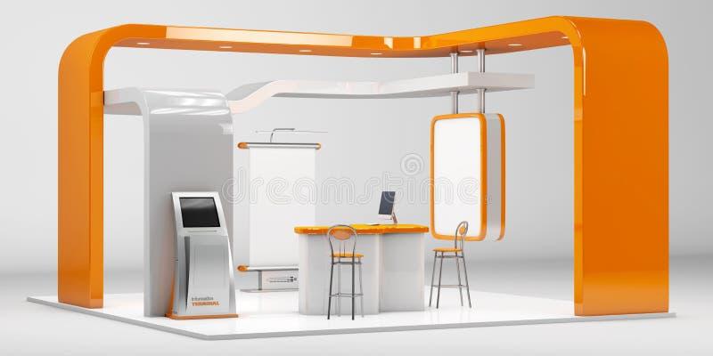 3d说明了与桌的独特的创造性的陈列立场显示器设计,并且椅子,信息板,卷起 库存例证