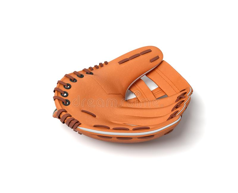3d说谎在白色背景的唯一橙色棒球露指手套的翻译 皇族释放例证