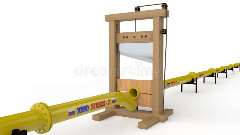 3D诺德小河管道裁减的例证由断头台的 想法我们对俄罗斯的制裁关于建筑 皇族释放例证