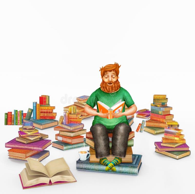 3D读书的年轻姜人例证翻译  向量例证