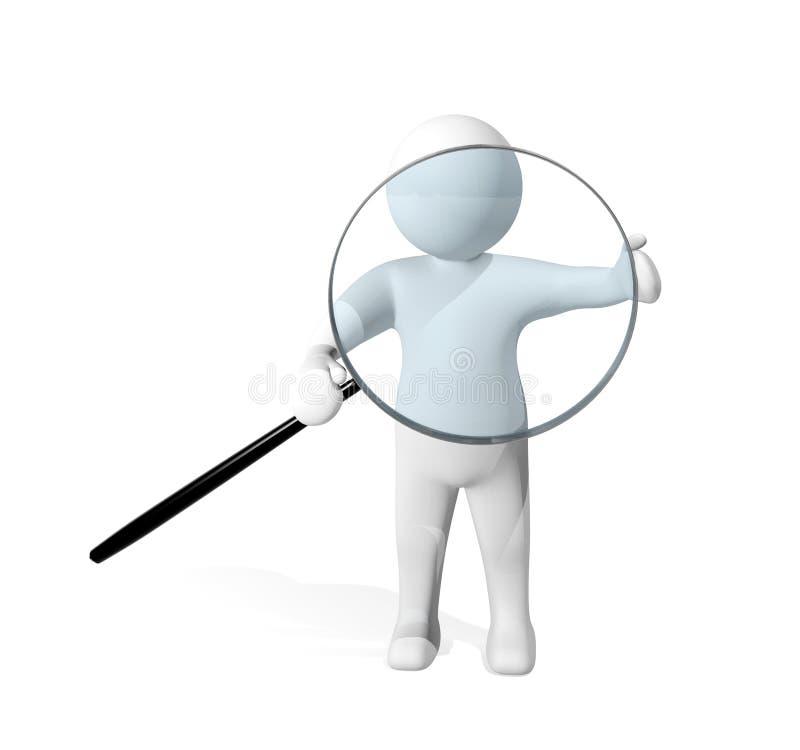 3d调查与放大镜的人 皇族释放例证