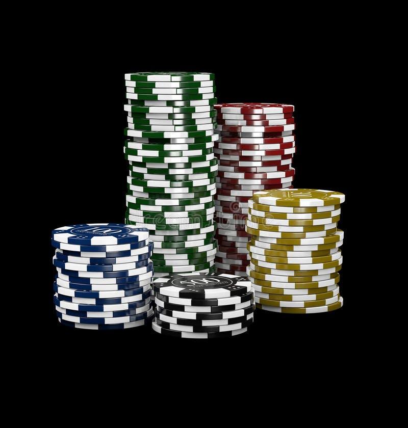 3d赌博娱乐场芯片的例证在黑现实题材隔绝的 向量例证