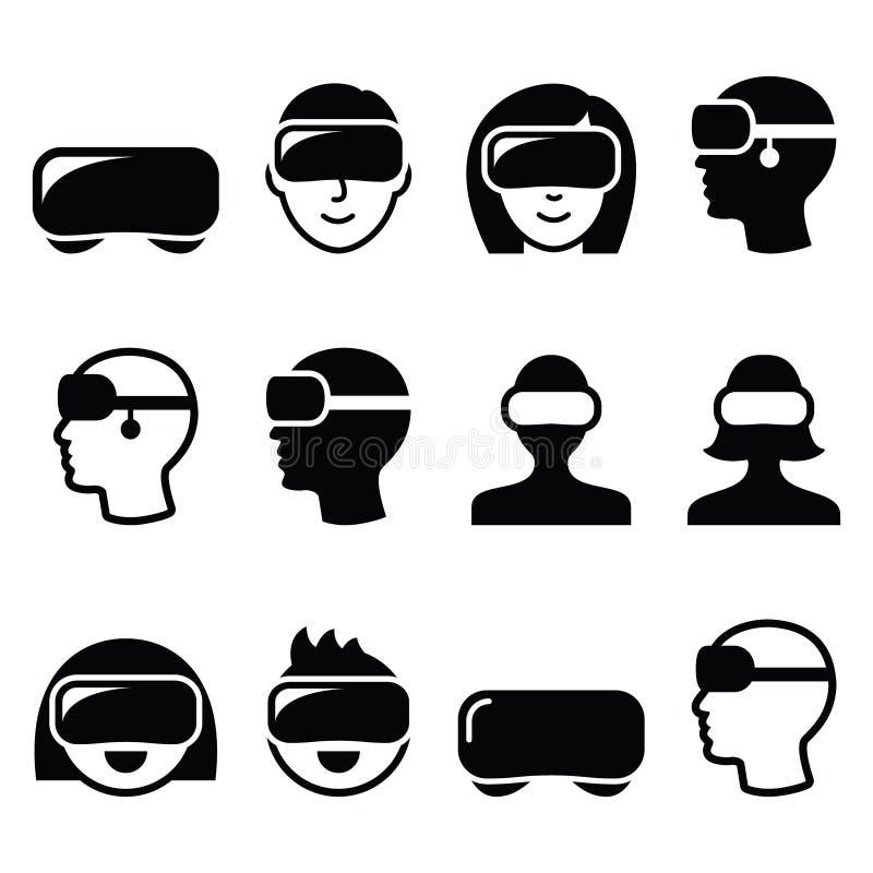 3D赌博的,观看的象虚拟现实耳机 库存例证