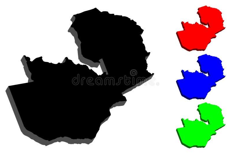 3D赞比亚的地图 皇族释放例证