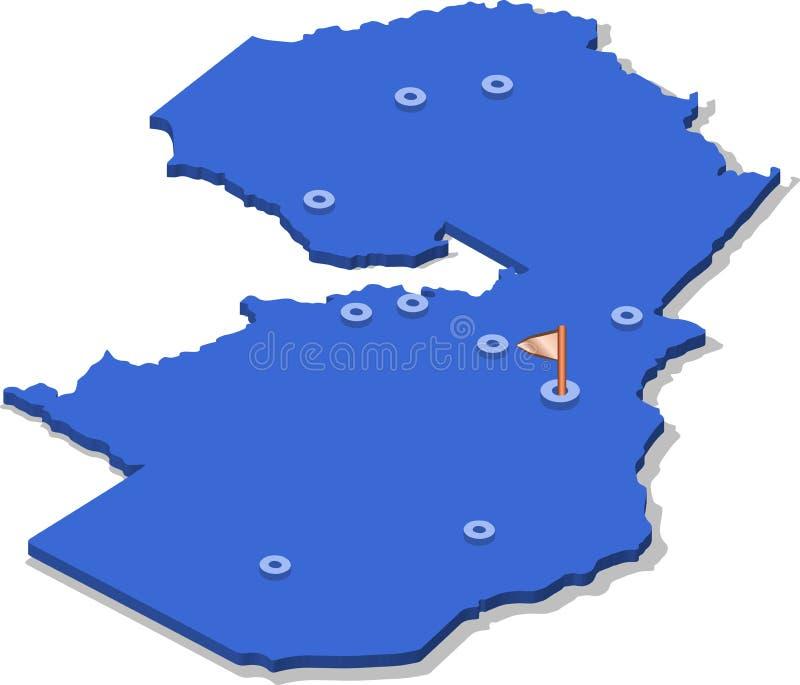 3d赞比亚的等轴测图地图有蓝色表面和城市的 向量例证