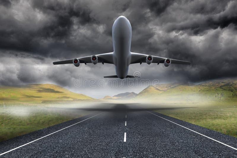 3D起飞在街道的飞机 库存例证