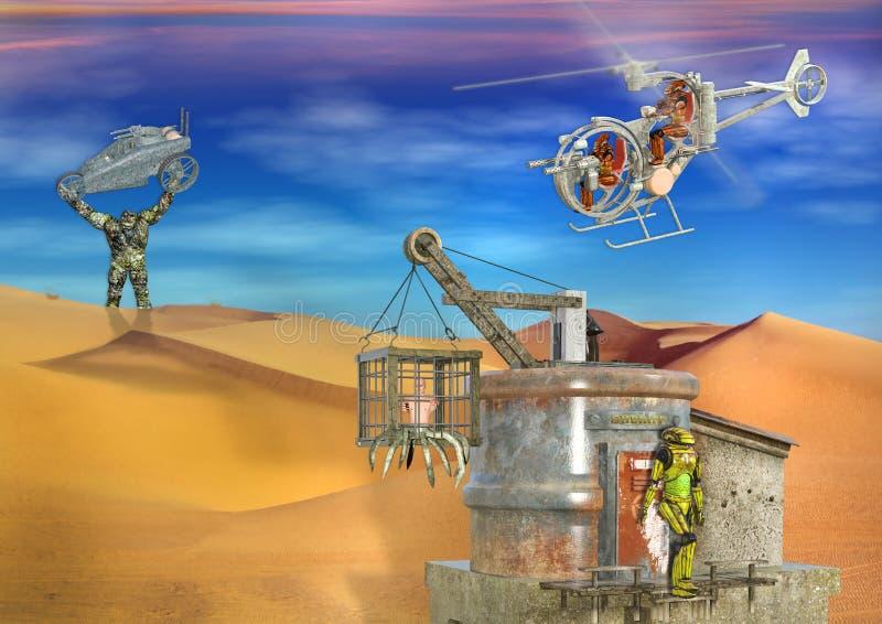 3D超现实的未来派反面乌托邦的沙漠场面 向量例证