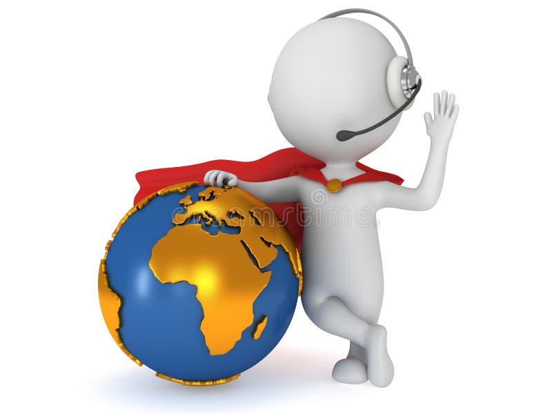 3d超级英雄全球性经理 向量例证