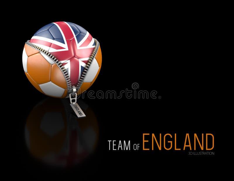 3d足球的例证与在黑背景隔绝的英国旗子的 皇族释放例证
