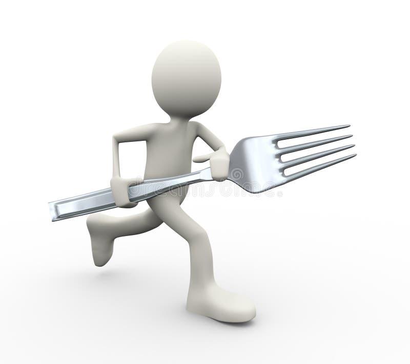 3d跑与叉子的人 向量例证