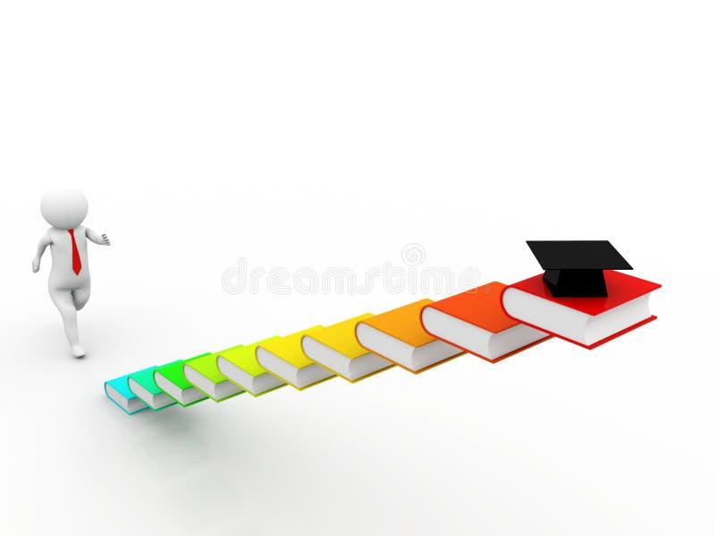 3d跑在白色背景的五颜六色的书台阶的人 3d例证 向量例证